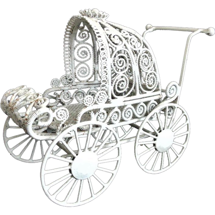 vintage doll house baby pram stroller buggy carriage white curled wire from coyotemoonantiques
