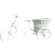 Vintage Doll House Bicycle White Curled Wire Wicker Dollhouse Furniture 3 Wheels w/ Basket Miniature
