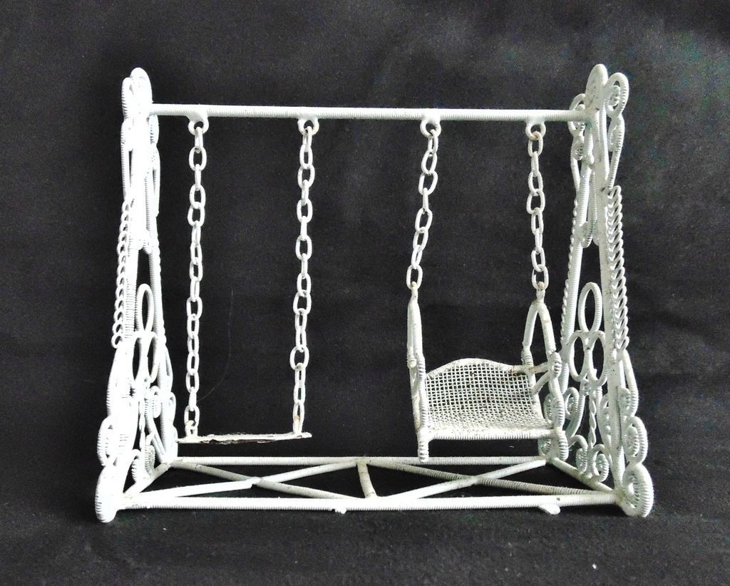 Vintage doll house swing set white curled wire wicker for Mini swing set