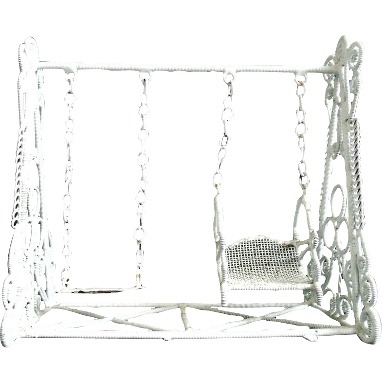 Vintage Doll House Swing Set White Curled Wire Wicker ...
