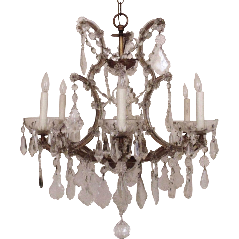 Italian chandelier crystal glass maria theresa 6 light w prisms italian chandelier crystal glass maria theresa 6 light w prisms fixture italy bird cage birdcage arubaitofo Images