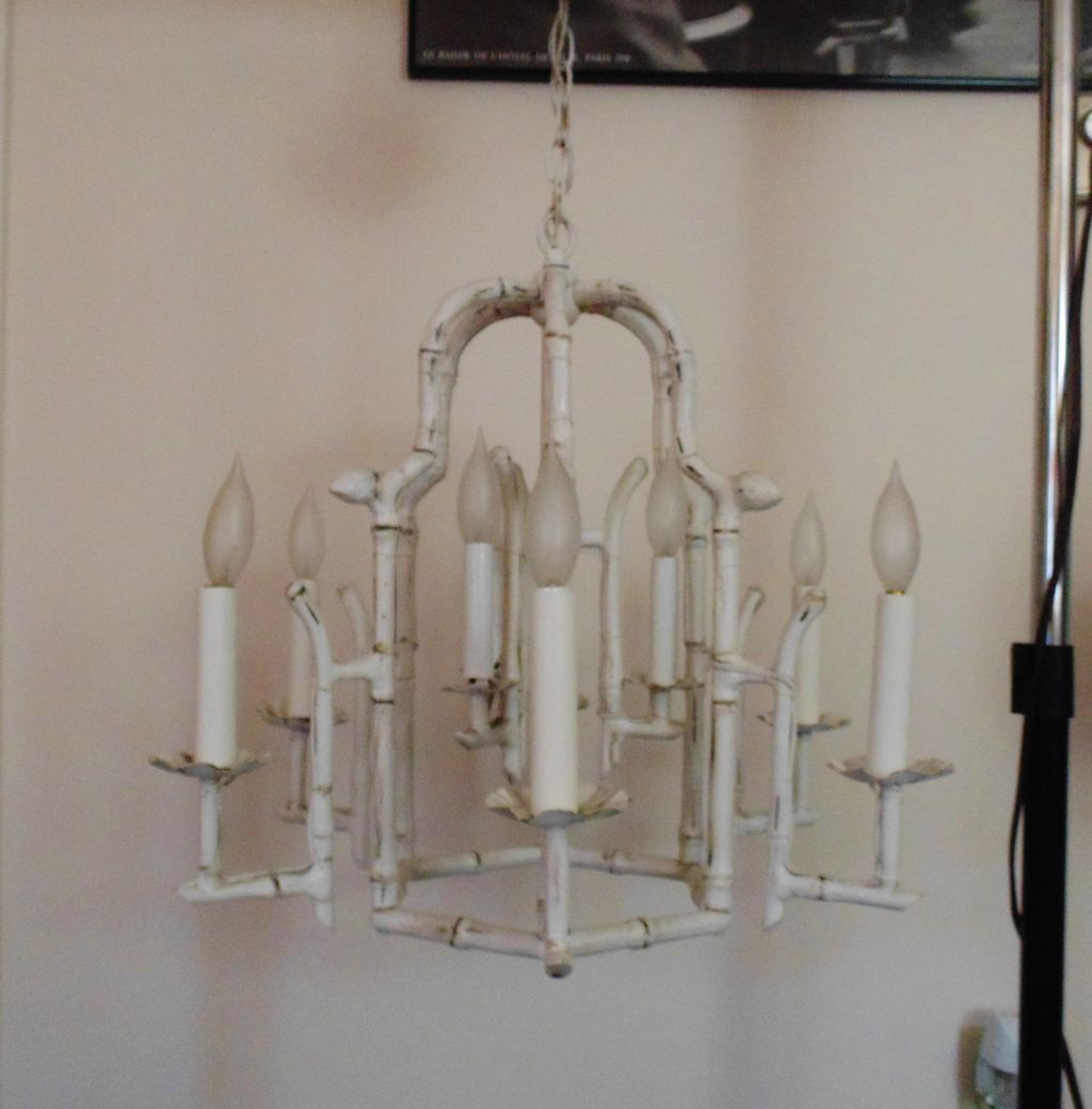 Modern Faux Bamboo Pagoda Chandelier Hollywood Regency 9