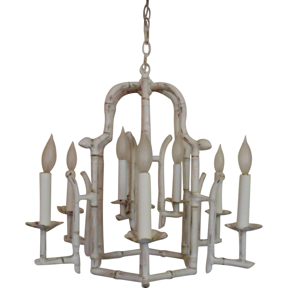 Modern faux bamboo pagoda chandelier hollywood regency 9 light modern faux bamboo pagoda chandelier hollywood regency 9 light fixture white mid century birdcage bird cage mozeypictures Gallery
