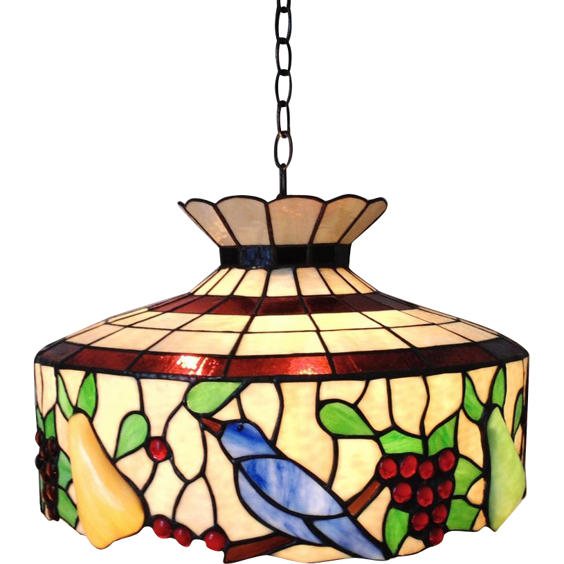 LARGE Stained Glass Chandelier Birds Fruit Light Fixture SOLD