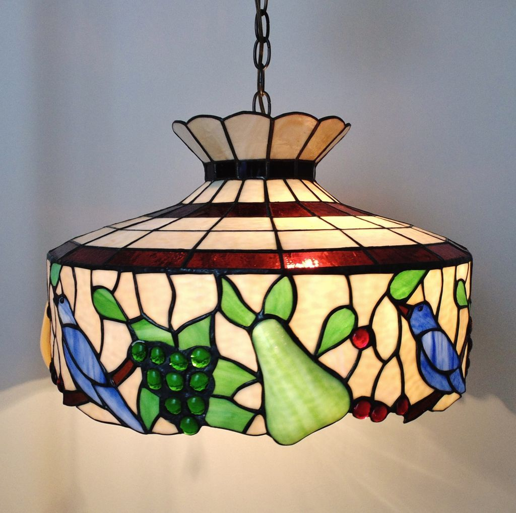 Vintage Stained Glass Chandelier Home Decor