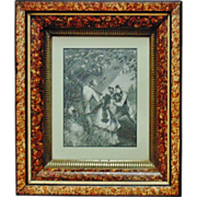 Antique Wood Picture Frame 19c Victorian Eastlake Aesthetic Marbelized c. 1865-85 w/ Engraving Print