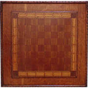 Antique Game Board Folk Art Primitive 19c Hand-Made Carved & Inlaid Wood Cribbage & Checkers w/ Some Pieces