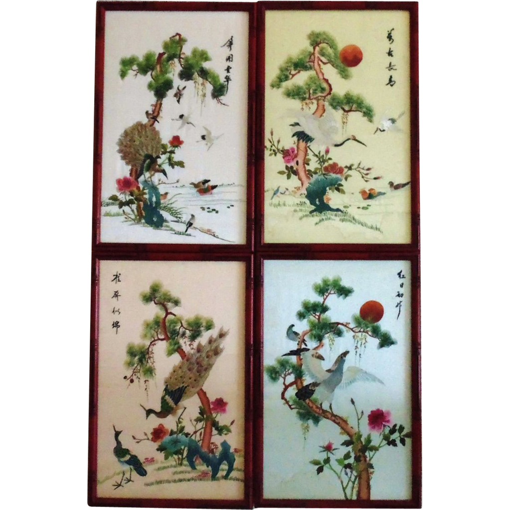Chinese Silk Embroidery On Glass
