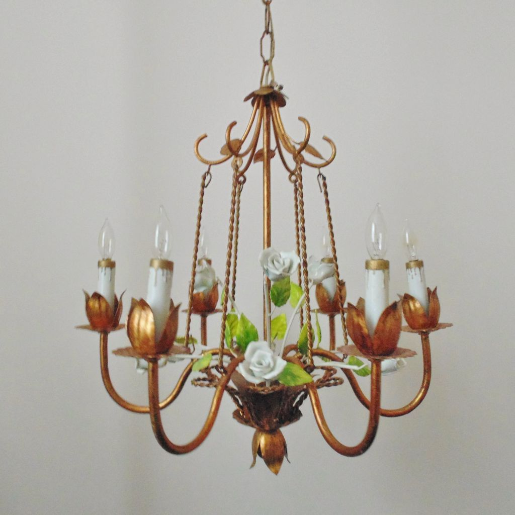 Italian tole chandelier bird cage porcelain roses gilt metal roll over large image to magnify click large image to zoom arubaitofo Images