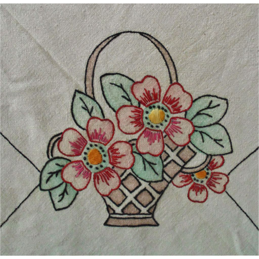 Arts and crafts table linens - Antique Linen Tablecloth Table Cloth Embroidered Royal Society Ivory Arts Crafts