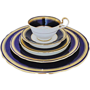 5 Place Settings Aynsley Dinnerware Cobalt Blue Gold Encrusted Dinner Salad Bread Plate Cup & Saucer Bone China Gilt England 25 Pieces