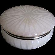 Old Italian fully carved sunburst alabaster round box