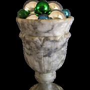 Old Italian carved alabaster stone Challis TULIP FORM