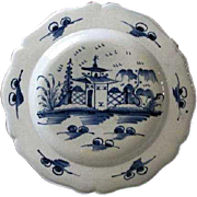 Early English Pearlware Chinoiserie blue white plate