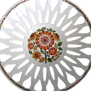 Vintage pierced porcelain fruit bowl flower power colors & design