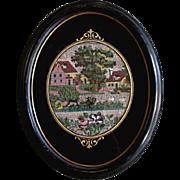 Antique beaded garden scene in fine oval eglomise frame