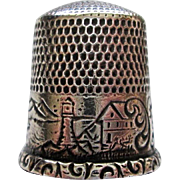 Antique Sterling nautical thimble Daniel B Waite Simons