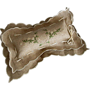 Old dresser pillow emery pin holder charming embroidered natural linen