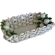 Old Italian majolica bowl open woven basket strawberries