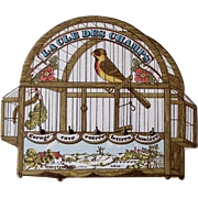French transfer ware pottery plaque bird cage key holder charming