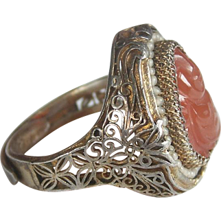 Antique Chinese Gilt Silver and Carnelian Buddha Ring