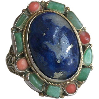 Fabulous Antique Chinese Ring with Jadeite Jade, Coral, and Lapis