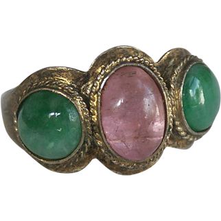Outstanding Antique Chinese Pink Tourmaline, Jadeite Jade, and Gold-Washed Silver Ring