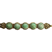 Stunning Antique Chinese Jadeite Jade and Gilt Silver Bracelet