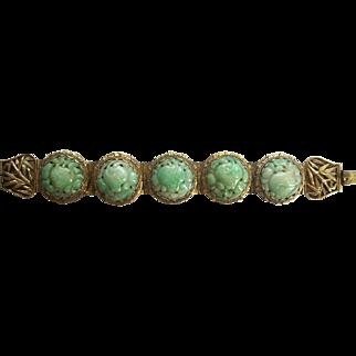 Stunning Antique Chinese Jadeite Jade and Gilt Silver Bracelet