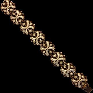 White enamel and sterling bracelet