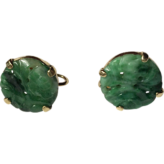 Jade  earrings set in 14 kt gold