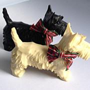 Vintage Pair of Celluloid Plastic Large Scottie Dogs