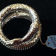 Vintage Whiting & Davis  Snake Silver Mesh Coil Bracelet w/ Tags