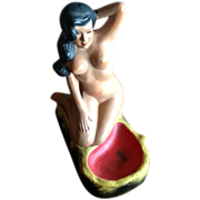 Vintage Polynesian Bathing Beauty Chalkware Ashtray