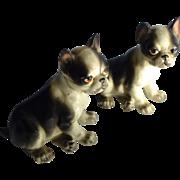 Vintage Porcelain Set of 2 Bulldog figurines