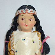 American Indian maiden All Bisque Girl Doll Vintage Japan