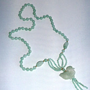 Vintage Genuine Jade Bead Necklace with Bird Pendant