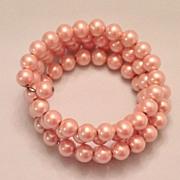 Vintage 4 strand Pink Faux Pearl Wraparound Bracelet