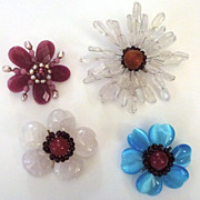 Vintage Flower Pins ~ Collection of 4
