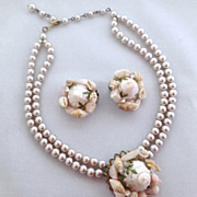 1950's Faux Shell and Pearl Necklace/Choker & Earrings