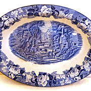 Blue & White Enoch Woods & Sons English Scenery Woods Ware Vegetable Bowl