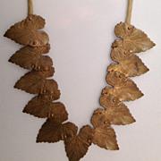 Vintage Copper colored Metal Jointed Leaf. Necklace