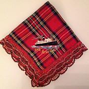 Vintage Silk Embroidered Souvenir English Handkerchief  R.M.S. Athenia