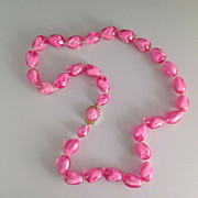 """Vintage West Germany 14"""" Strand of Pink Early Plastic Beads"""
