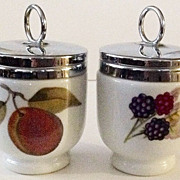 "Two Royal Worcester ""EVESHAM"" Peach  & Berry Egg Coddler Cups"