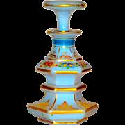 Fine Gilt & Enamel French Opaline Perfume w/Florals