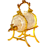 Exquisite French Engraved Barrel Perfume Dispenser in Ormolu Frame