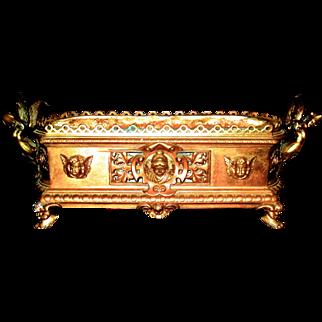 Large Bronze Renaissance Revival Jardiniere or Centerpiece w/Cherubs