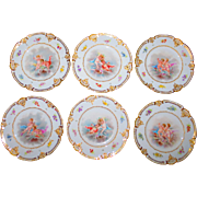 Set of 6 Hand-Painted Cherub Plates- French Porcelain w/Raised Gilt