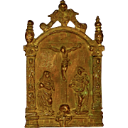 Bronze 16th Century Pax w/Crucifixion Scene
